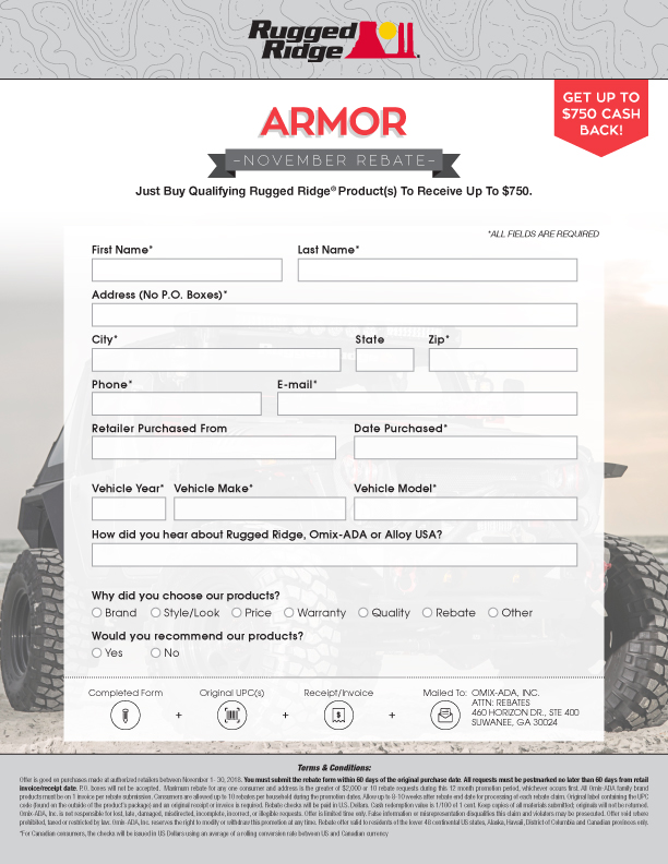 Rugged Ridge Armor Rebate - UP TO $750 CASH BACK!  November 2018 only.